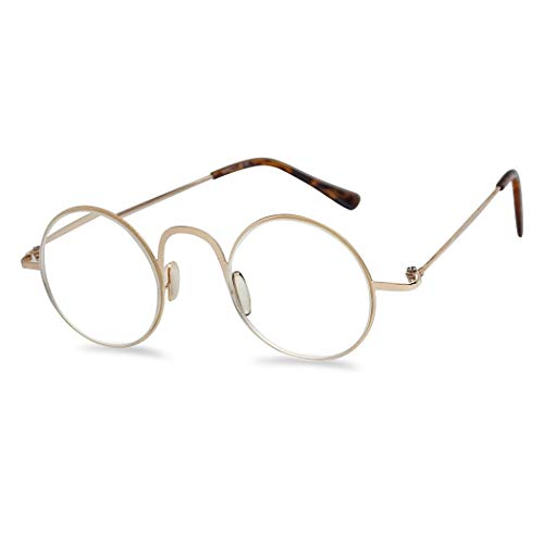 Lightweight Flexible Stainless Steel 43mm Round Metal Computer Reading Glasses for Men and Women (Gold Frame, 1.75)