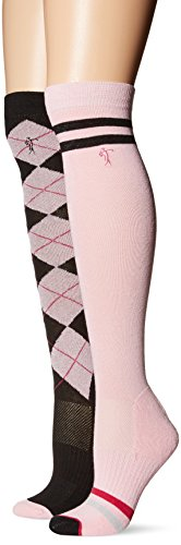 LPGA ARGYLE/STRIPE KNEE HI SOCKS 2-PAIR-EMBROIDERED LOGO-Black/Pink-9 to 11