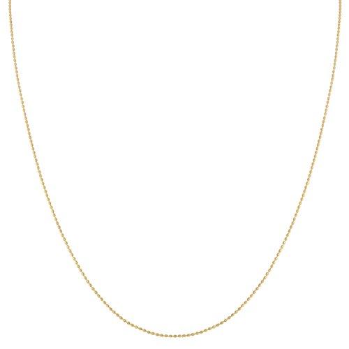 (Kooljewelry 14k Yellow Gold 0.8 mm Diamond-cut Bead Ball Chain Necklace (16 inch))