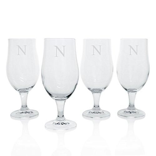 (Cathy's Concepts Personalized Elegant Pilsner Glasses, Set of 4, Letter N)