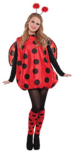 Ladies Red & Black Spotty Ladybird Ladybug Mini Beast Carnival Festival 4 PC Fancy Dress Costume Outfit With Wings (UK 10-14)