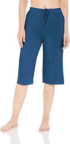 LazyCozy Women's Bamboo Capri Sleep Pants, Blue, Large
