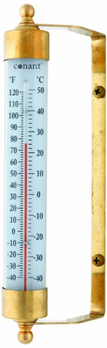 (Conant T1LFB Vermont Indoor/Outdoor Thermometer, Living Finish Brass )