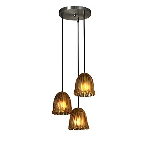 Justice Design Group GLA-8818-56-AMBR-NCKL Veneto Luce Collection 3-Light Cluster pendant, Mini Veneto Luce Multi Light