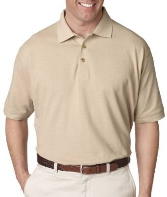 (UltraClub Men's Relaxed Fit Taped Neck Pique Polo Shirt, X Large, Putty)