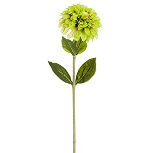 "29"" Zinnia Silk Flower Stem -Light Green (Pack of 12) 25"