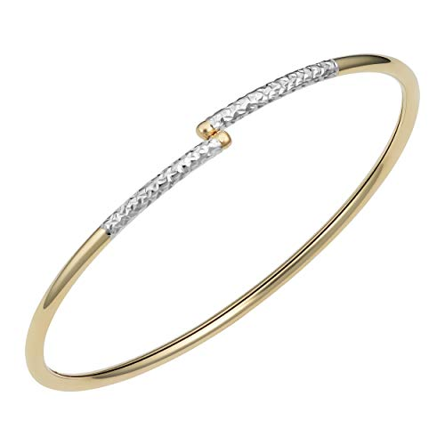 Kooljewelry 14k Two-tone Yellow and White Gold Diamond-cut Bypass Bangle (2.5 mm, 7.5 inch) ()