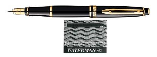 Waterman Expert GT Fountain Pen - Black/Gold Trim, Medium Nib S0951660 by Waterman