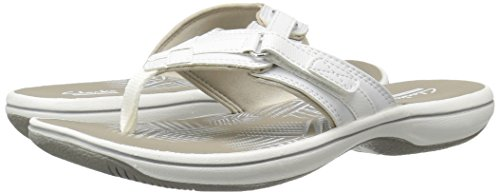 CLARKS Women's Breeze Sea Flip Flop, New White Synthetic, 9 M US by CLARKS (Image #14)