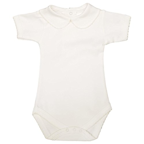 CARLINO Peter Pan Collared Bodysuit - Short Sleeve, Extra Soft, 6 Colors Available Lite Ivory, 12-18 Months