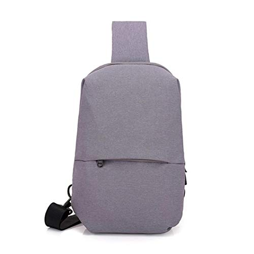 EUzeo Men Chest Bag Canvas Outdoor Riding Water Repellent Shoulder Small Backpack Gray