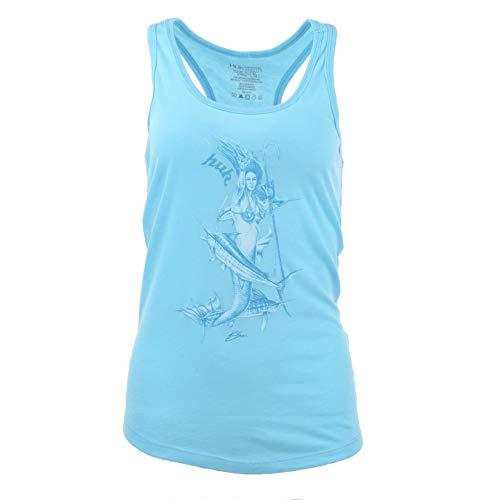 - Huk Women's Mother Ocean Racer Tank, Tahiti Blue Heather, X-Large