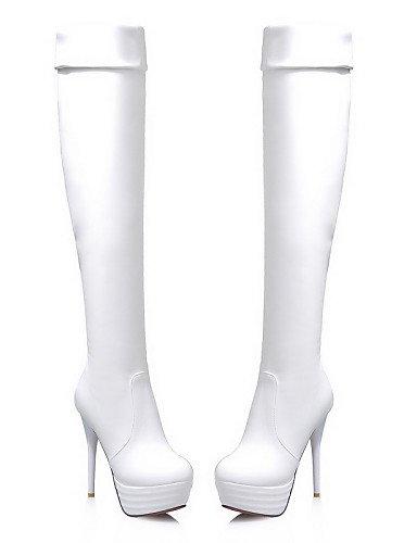 Vestido Casual Y De Exterior Redonda us8 Xzz Eu39 Botas Mujer White Cn39 Trabajo Oficina Cerrada cuero Zapatos Uk6 Punta Tacón Stiletto P6wO6