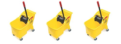 Rubbermaid Commercial Tandem Bucket and Wringer Combo, 31-Quart Capacity, 22.63-Inch Length x 13.25-Inch Width x 32.25-Inch Height, Yellow (FG738000YEL) (3 PACK) by Rubbermaid