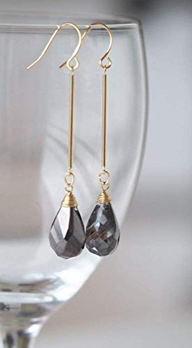 Simulated Smoky Quartz Teardrop Stone Dangle Bar -