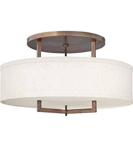 Semi Flush 3 Light Fixtures With Brushed Bronze Finish Metal