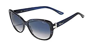 Chopard SCH 129S WTG Women Butterfly Oval Blue & Silver Sunglasses 56mm