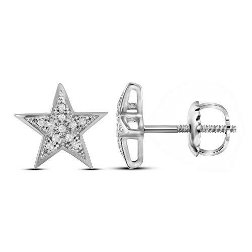 (Mia Diamonds 10kt White Gold Womens Round Diamond Star Cluster Screwback Earrings (.05cttw) (I2-I3))
