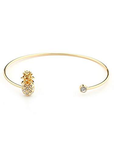 Hanloud Elegant Crystal Pineapple Bracelet Fruit Adjustable Cuff Bangle Bracelet for Women
