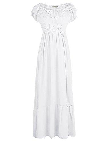 impero Anna Abito donna Conchiglia lungo corta Contadino Elegante Kaci Boho Maxi manica Bianco AFSxF6wPq