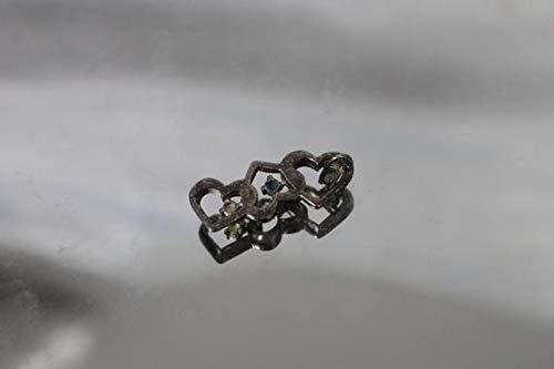 vanyjewl VANY 925 - Vintage Triple Heart w/Green Blue Yellow Stones Pendant Slide & Patina in Sterling Silver ()