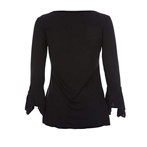 Haut Mode Fit Elgante Slim Manche Volants V Chic Cou Chemise Schwarz Manches Chemisier Automne Costume Branch Uni Shirts Casual Blouse Trompette Femme Button Z5Zw60rq