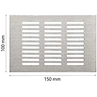 Homez Aluminium Brushed Nickel Finished Ventilator Grill for Bathroom, Kitchen, Storage, Shoe Box Door Ventilation (Metallic, 100 x 150 mm)