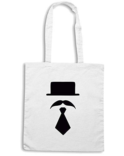 T-Shirtshock - Bolsa para la compra TR0031 Bowler Hat Moustache vintage Indie Geek Short Tie Blanco