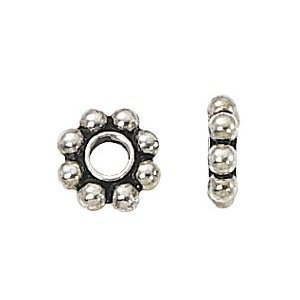 -PB5-1,000 5mm Silver Plated Bali Daisy spacer beads ()