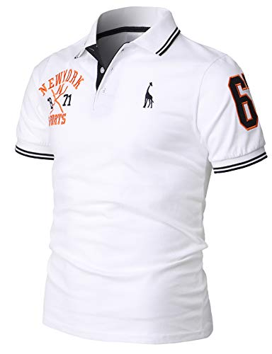 H2H Mens Casual Slim Fit Polo T-Shirts Basic Designed with Giraffe Embroidery White US XL/Asia 4XL (KMTTS599)