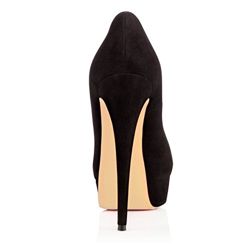 High Shoes Black On Platform Ladies Stiletto Pumps Suede Peep Womens Slip Toe Heels AIWEIYi Dress Party tgq6OSaBwz