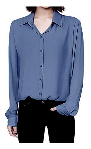 ARJOSA Women's Chiffon Long Sleeve Button Down Casual Shirt Blouse Top (US L/Asian XXL, Denim Blue) ()