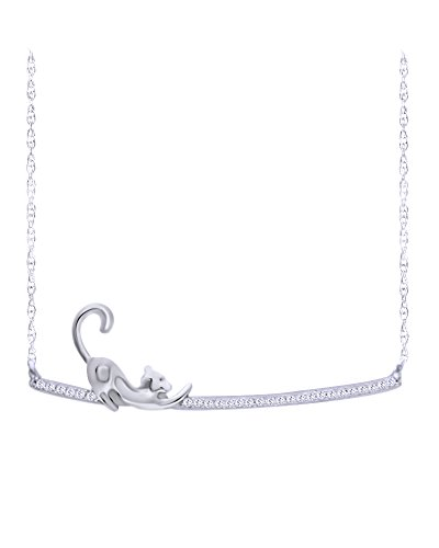 (Wishrocks Round Cut White Diamond Stretching Cat Bar Necklace in 14K White Gold Over Sterling Silver (1/10 CT))