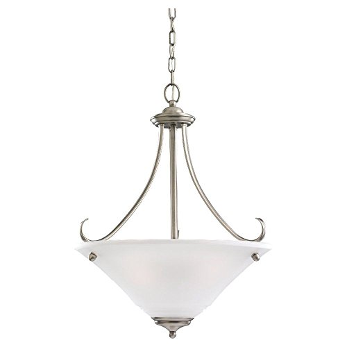 Sea Gull Lighting 65381-965 3-Light Pendant, Satin Etched Glass and Antique Brushed Nickel (965 Parkview 3 Light)