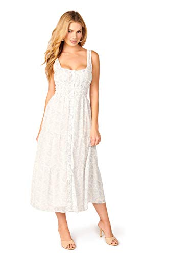 Wildflower White Blue Midi Dress