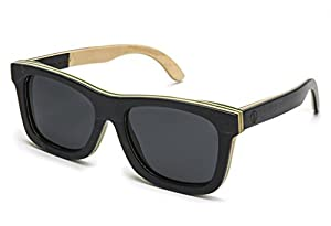 Tree Tribe Wood Sunglasses - Polarized Lens, Skateboard Wooden Frame + Case