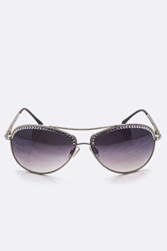 Karmas Canvas Austrian Crystal Aviator Iconic Sunglasses - Sunglasses Inexpensive Bulk