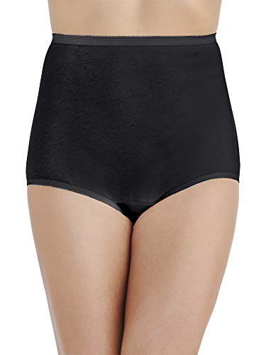 Vanity Fair Women's Plus Size Perfectly Yours Tailored Cotton Brief Panty 15318, Midnight Black, 3X-Large/10 ()