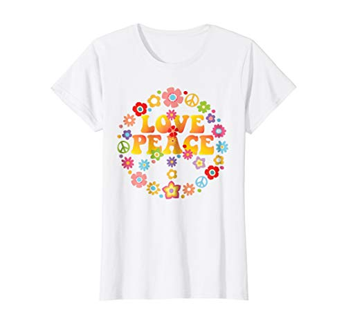 Female Sign Women T-shirt - Womens PEACE SIGN LOVE T Shirt 60s 70s Tie Die Hippie Costume Shirt Large White