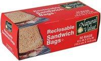Natural Value Reclosable Sandwich Bags -- 50 Bags - 2pc