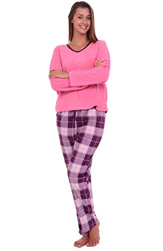 Alexander Del Rossa Womens Fleece Pajamas, Long V-Neck Pj
