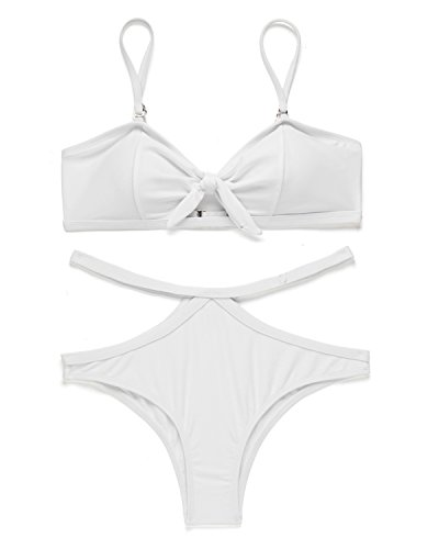 Tie Front Bandeau Top - X-HERR Womens Tie Knot Front Bandeau Bikini Set Padded Halter Top Cutout Brazilian Bottom Two Piece Swimsuit (White,S)