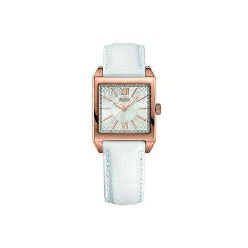 Hugo Boss 1502239 - Reloj analógico de mujer de cuarzo con correa de piel blanca: Amazon.es: Relojes