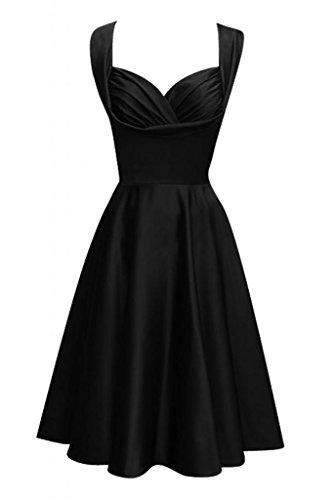 Toscana novia Chic dos-Traeger por la noche vestido de satén corto vestidos de fiesta De antiguos alumnos negro 50