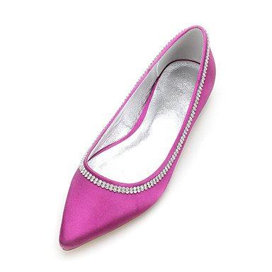 Las Mujeres'S Wedding Shoes Confort Satin Primavera Verano Boda Vestido De Noche &Amp; Rhinestone Bowknot Champán Heelivory Plana Rubí Azul US9 / EU40 / UK7 / CN41