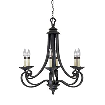 Designers Fountain 9036-NI Barcelona 6-Light Chandelier, 25.5 x 27.25 , Natural Iron