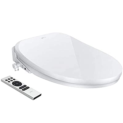 Smart Toilet Seat, UFFU Advanced Bidet Toilet Seat, Wireless Remote Control, Advanced H/C Massage, Precise Seat Warming, Self-Cleaning with Air Dryer, Inviting Nightlight Design, Elongated White