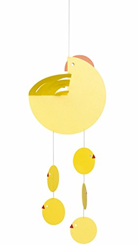 Flensted Mobiles Easter Mother Hen Yellow Hanging Mobile – 16 Inches Plastic