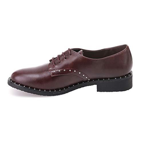 Le de côtés sur Rond à La Modeuse Derbies et Les avec la pourtour Clous Rouge Bout Chaussure q0O87