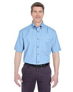 UltraClub Adult Cypress Denim Short-Sleeve with Pocket L Light - Solid Mens Shirt Twill